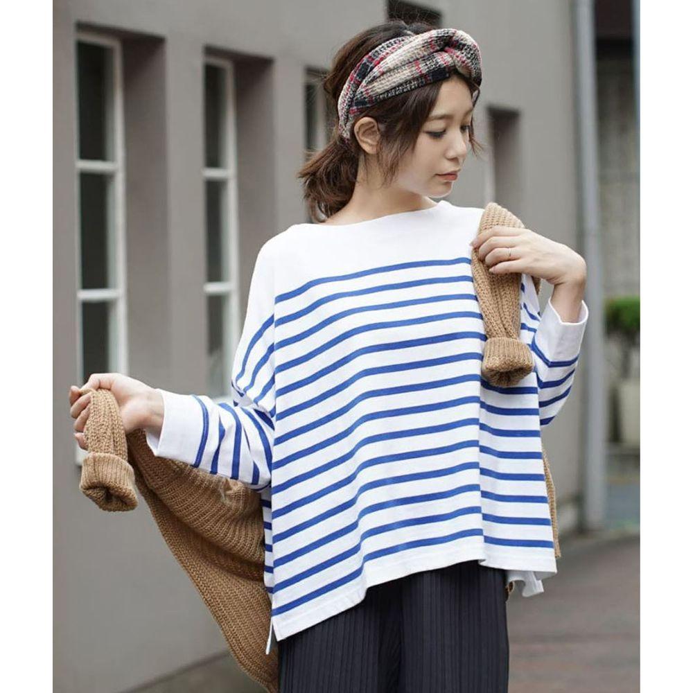 日本 zootie - [撥水/撥油加工] 抗油污耐洗純棉長袖上衣-條紋-白藍
