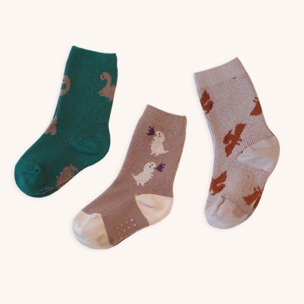 韓國 Kokacharm - 韓國製踝襪-三件組-DINO FRIENDS
