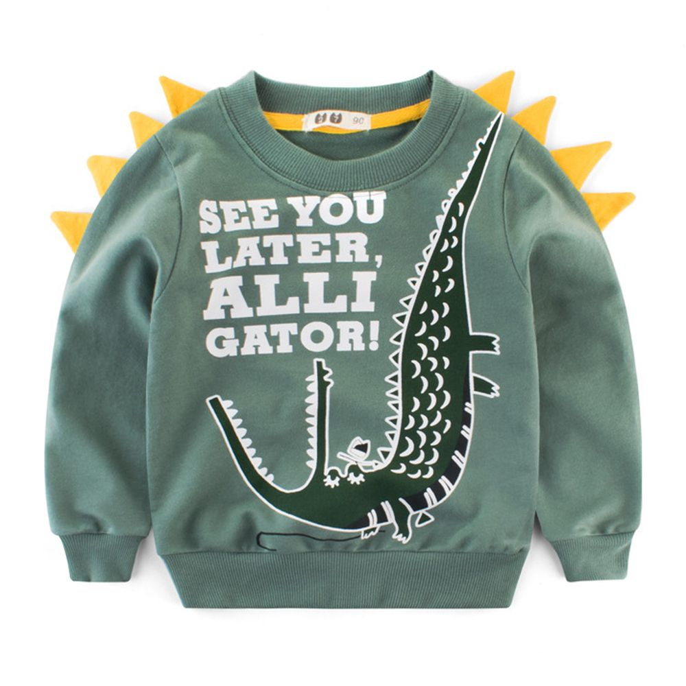 純棉長袖T恤-鱷魚晚點見