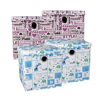 可折疊輕巧收納盒四入組-歡樂動物*2+摩登塗鴨*2-27L*4
