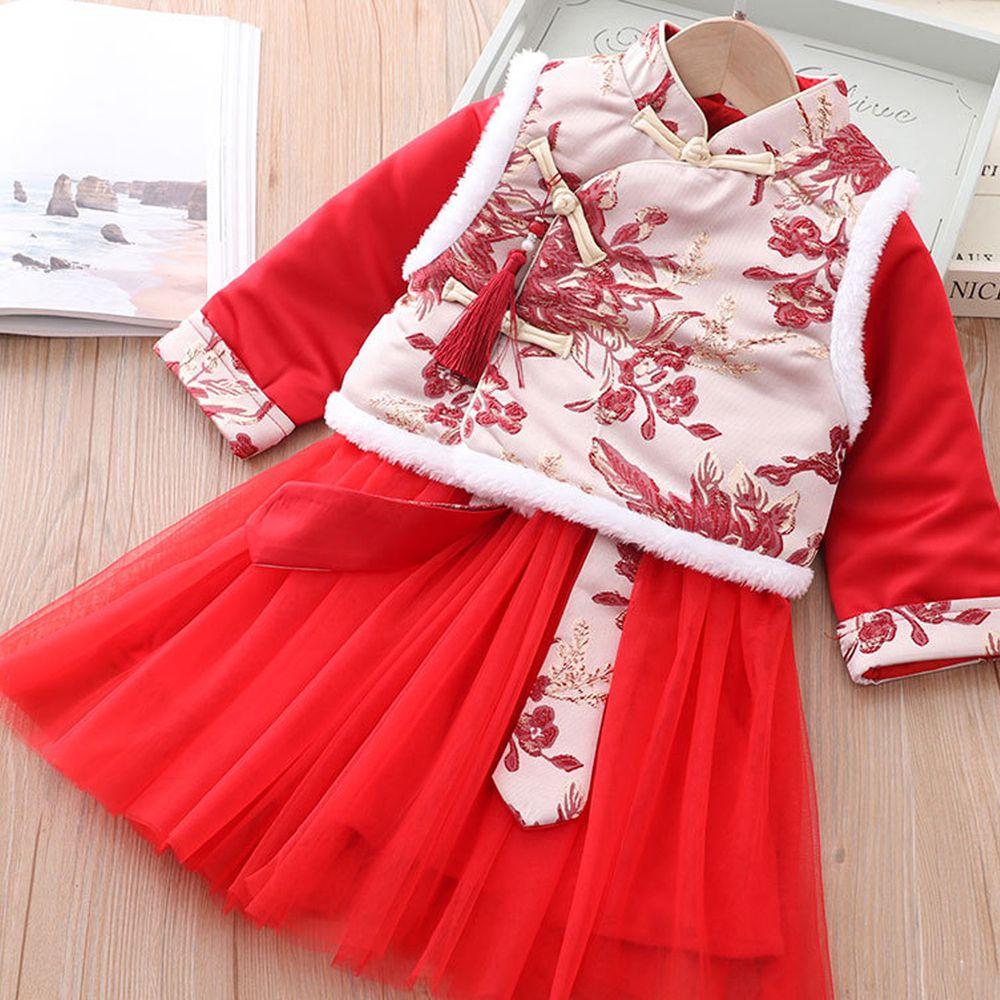 繡花背心唐裝紗裙-加厚款洋裝+背心-紅色