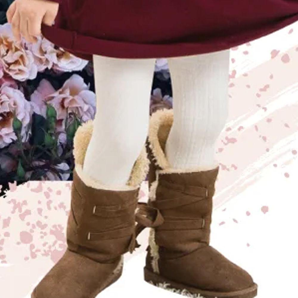 貝柔 Peilou - 女童精梳棉義式對目褲襪-米白