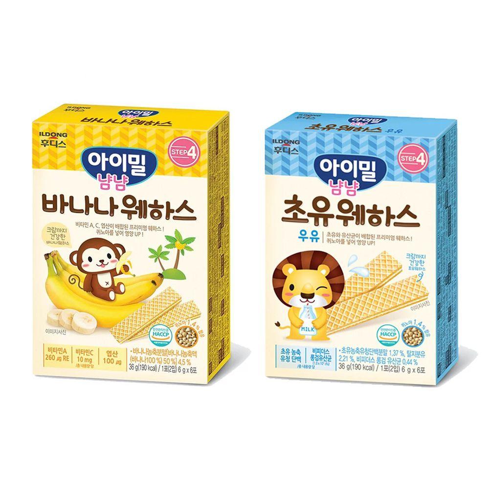 韓國Ildong Foodis日東 - 藜麥威化餅二入組-初乳牛奶*1+香蕉*1
