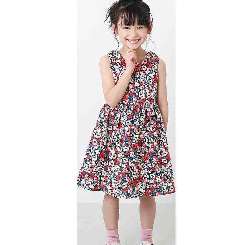 日本 devirock - 純棉雙肩蝴蝶結造型無袖洋裝/親子裝-粉底碎花