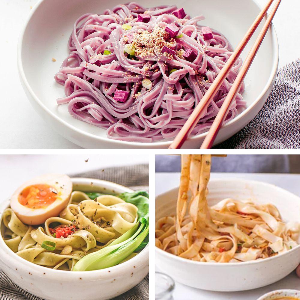 森林麵食 - 紫薯沙茶x季節蔬菜椒麻x粿仔麻辣各一組_共12包-125g/份