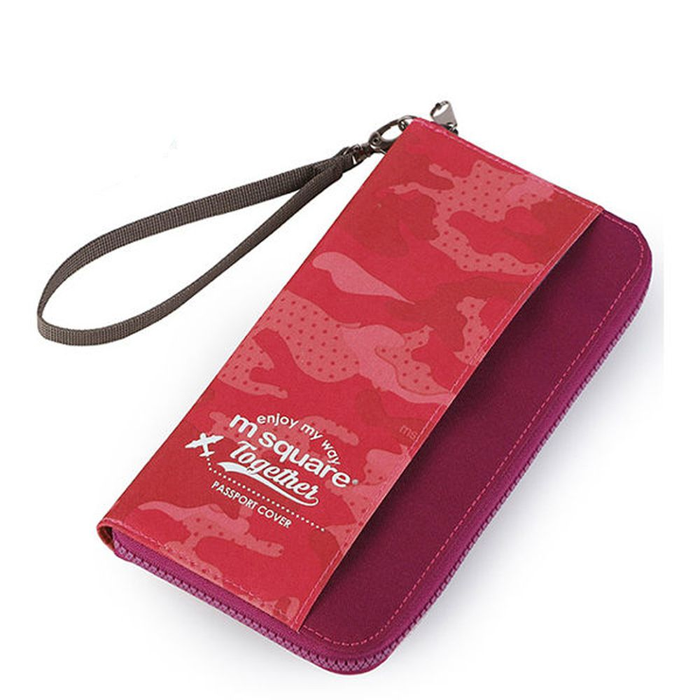 m square - 長版手挽護照夾紀念版-迷彩紅 (23*12cm)