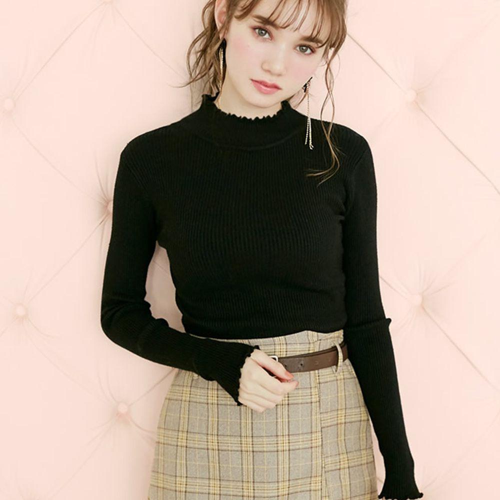 日本 GRL - 合身修飾花邊袖領口針織上衣-時尚黑