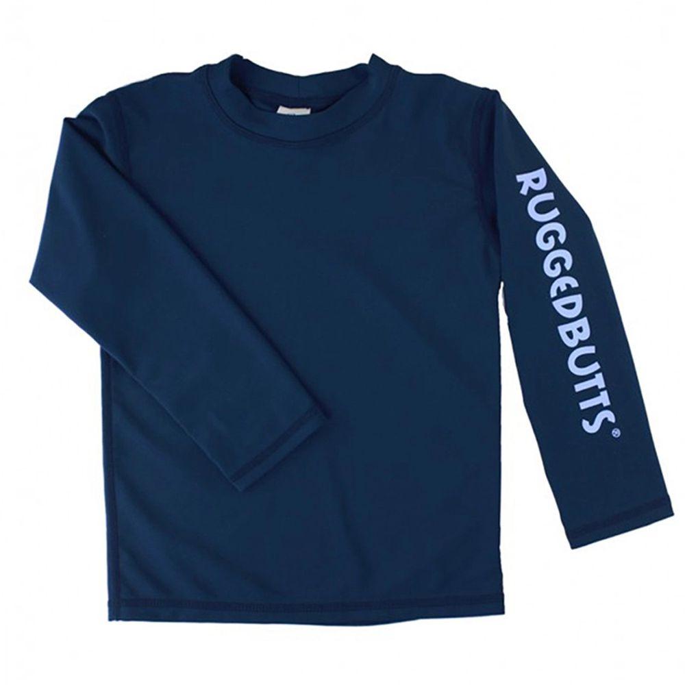 美國 RuffleButts - 小男童UPF 50+防曬長袖泳衣-海軍藍
