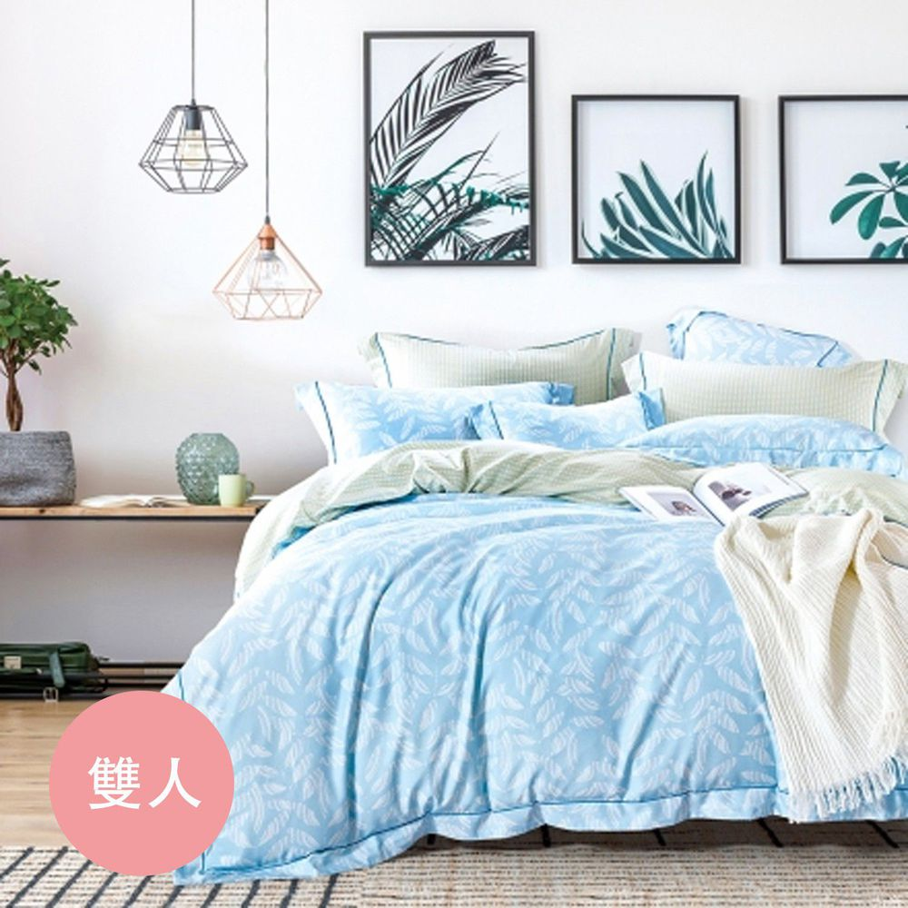 PureOne - 吸濕排汗天絲-桑竹-雙人床包枕套組(含床包*1+枕套*2)
