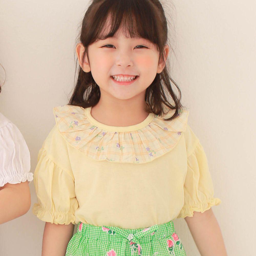 韓國 Dalla - 花花荷葉領上衣-鵝黃