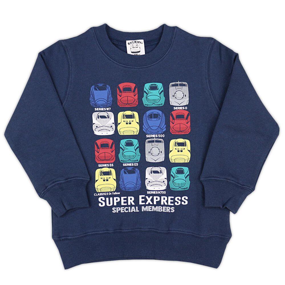 日本服飾代購 - 純棉印花長袖上衣(裏起毛)-繽紛新幹線車頭-深藍