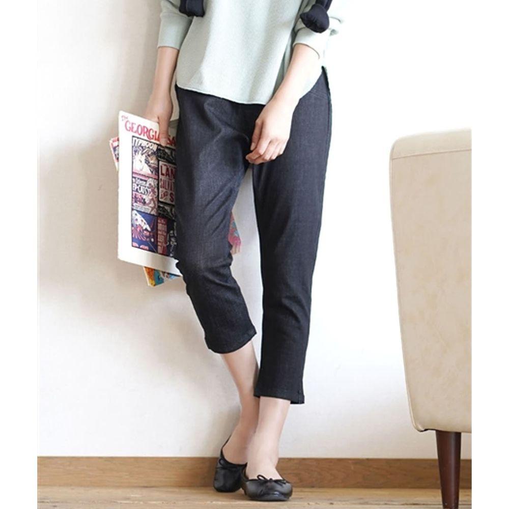 日本 zootie - Air Pants 輕薄彈性修身七分褲-丹寧黑