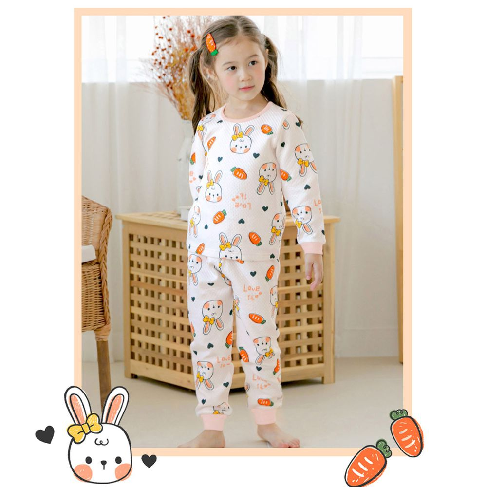 韓國 Maykids - 有機棉鋪棉保暖家居服-紅蘿蔔小兔