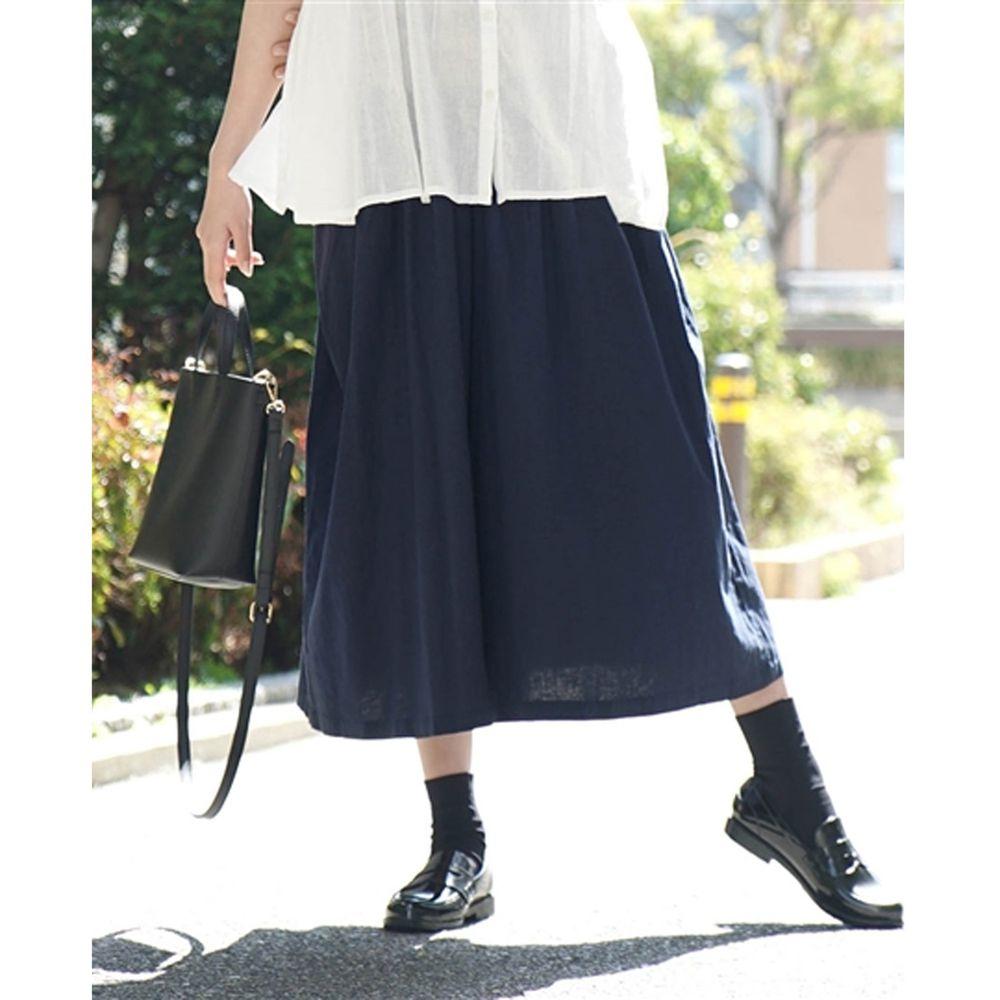 日本 zootie - 麻料舒適寬褲裙-深藍