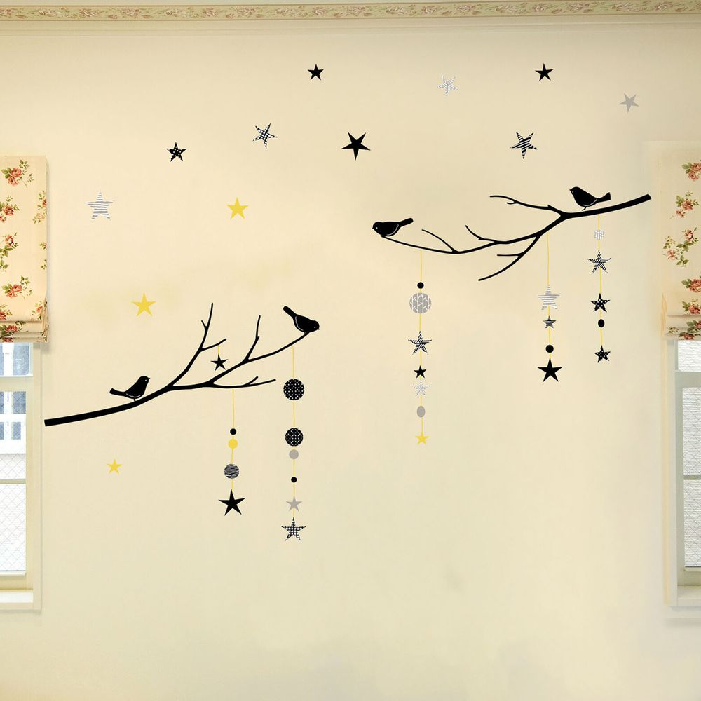 日本 TOKYO STICKER - 日本製 質感無邊框壁貼 [精緻轉印款]-樹梢星星與鳥-黃 (100*32cm)