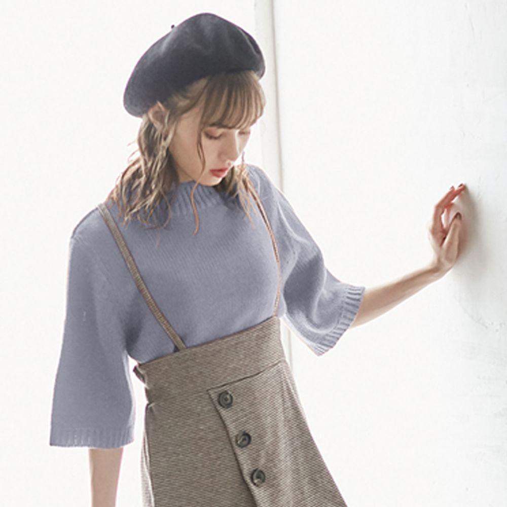 日本 GRL - 寬版顯瘦小高領七分袖針織上衣-天藍