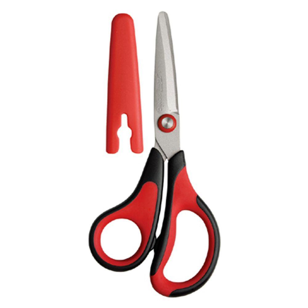 日本文具 SONIC - 3D AIR 輕量安全剪刀(不易黏膠) (紅)