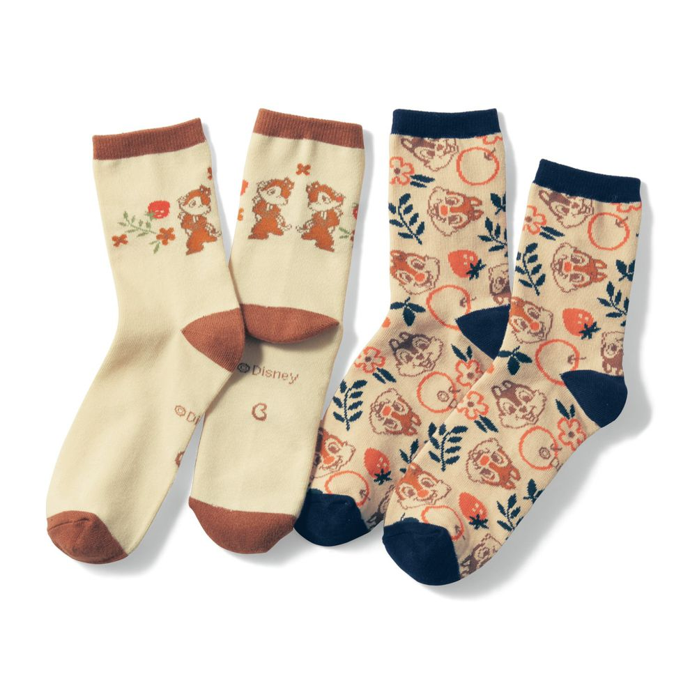 日本千趣會 - 迪士尼中筒襪兩件組-奇奇蒂蒂草莓 (23-25)