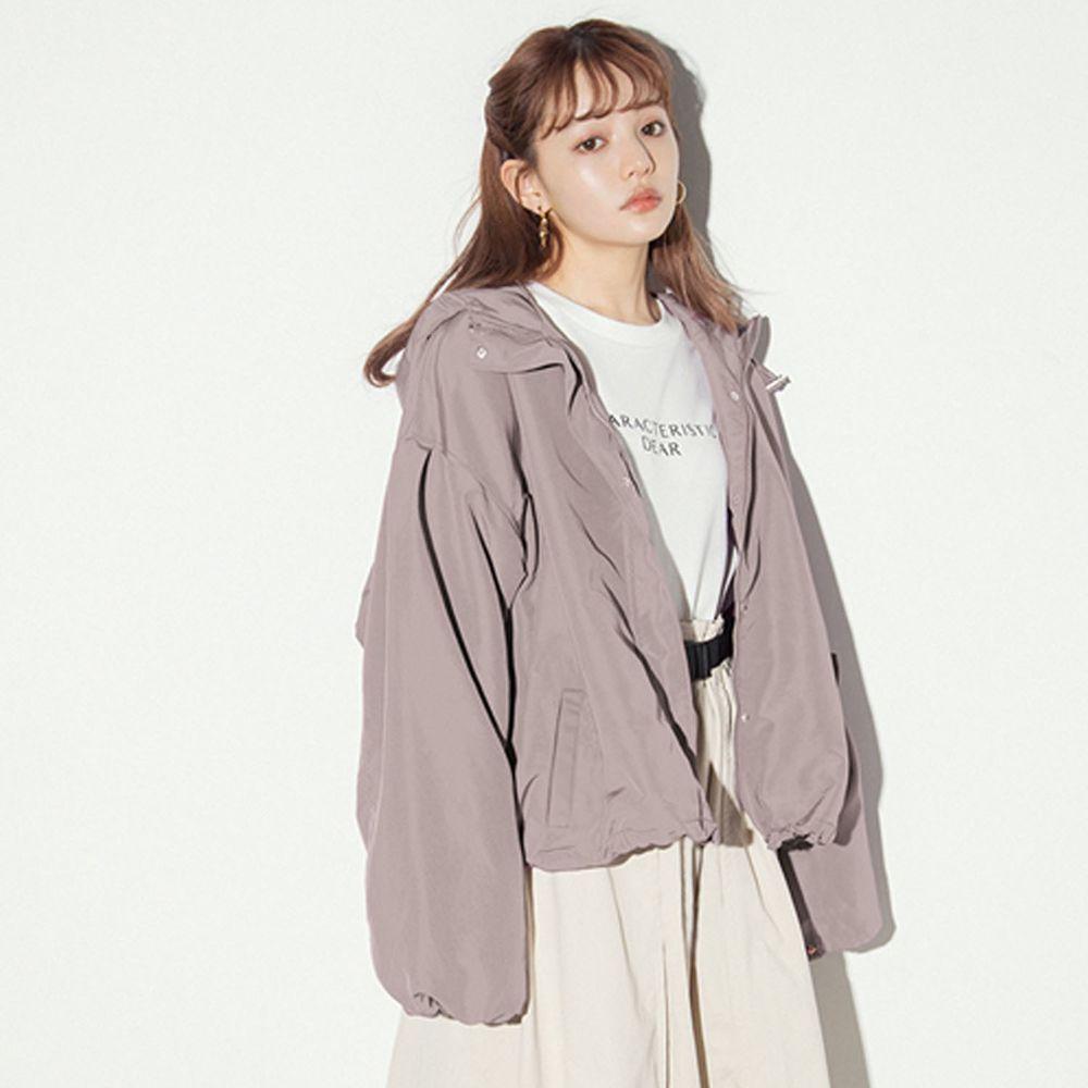 日本 GRL - 修身顯瘦寬版連帽外套-灰粉杏