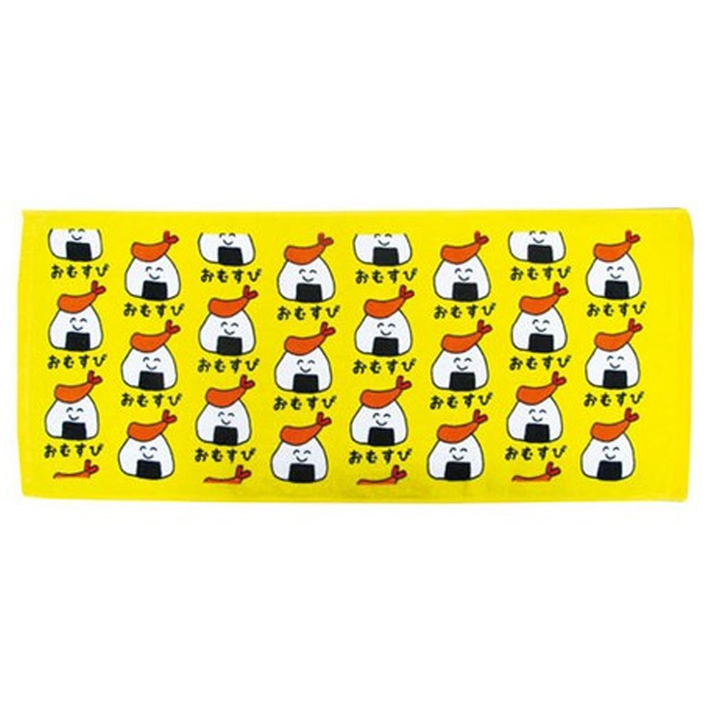 日本 OKUTANI - 童趣插畫長毛巾-炸蝦御飯糰-黃 (34x80cm)