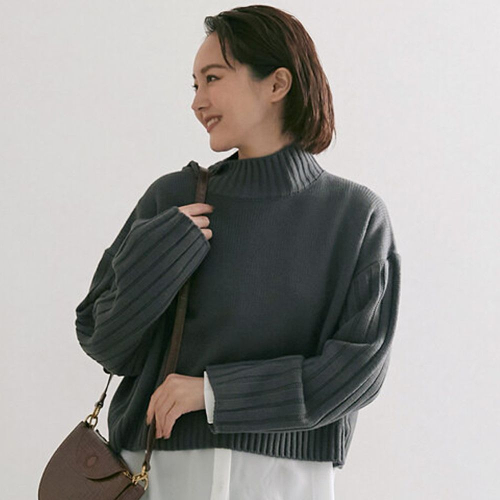 日本女裝代購 - 高領短版針織毛衣-深灰 (M(Free size))