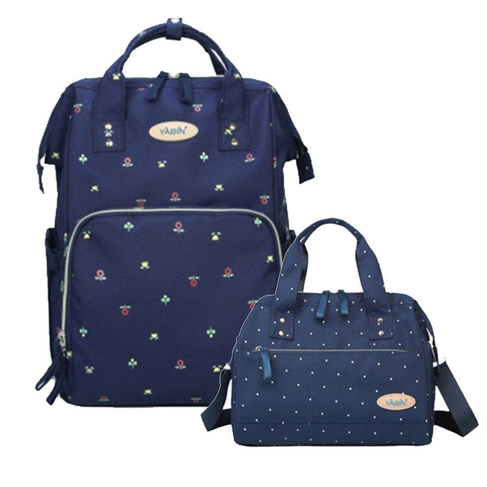 YABIN - 經典大開口後背包+手提小包-大包-寶藍小花-小包-寶藍波點
