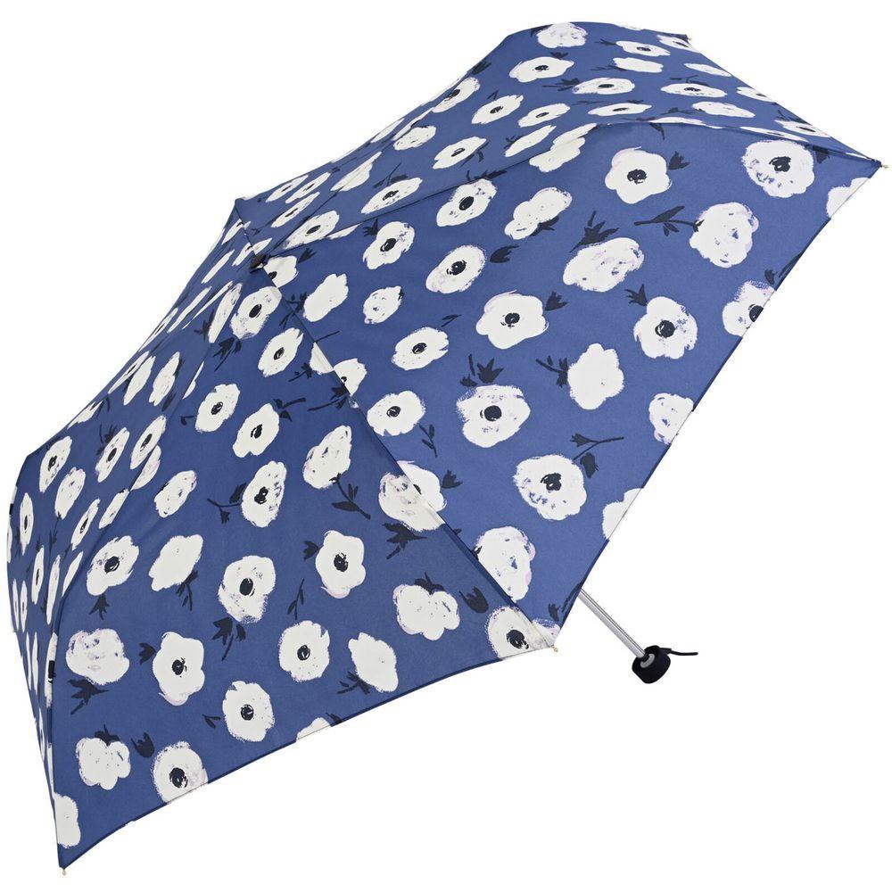 日本 nifty colors - 抗UV輕量 晴雨兩用折疊傘-油彩花朵-深藍 (親骨55cm/直徑98cm)-90%