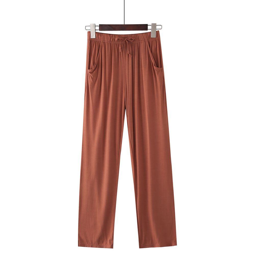 莫代爾柔軟涼感七分褲-焦糖色