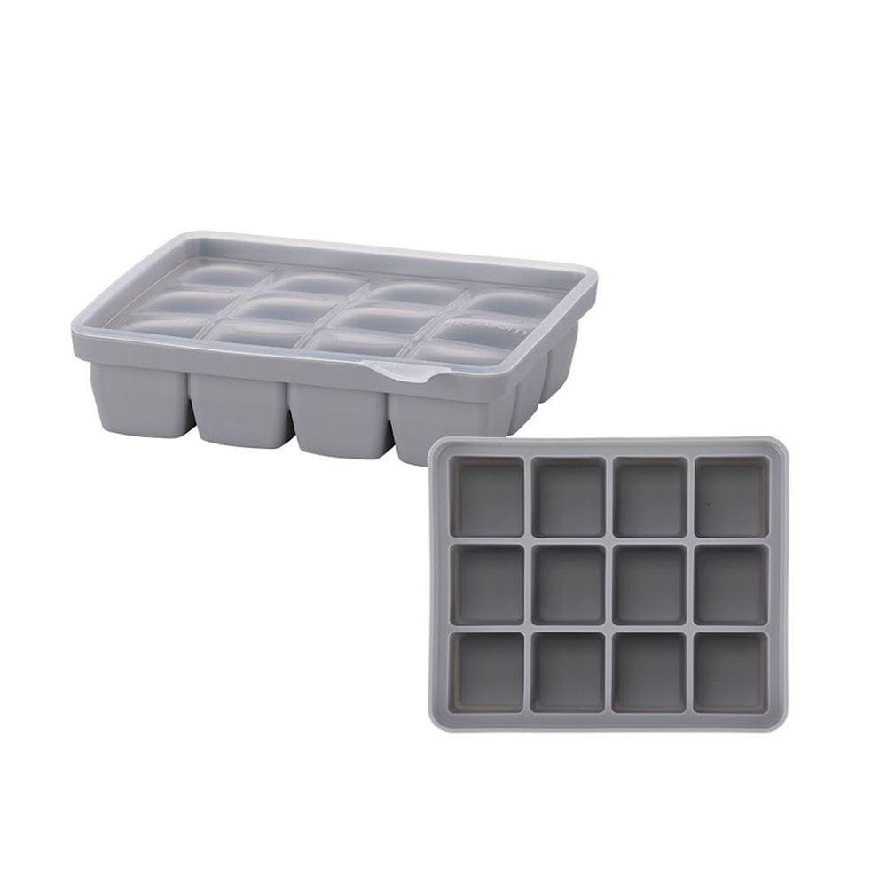 韓國 Moyuum - 白金矽膠副食品分裝盒-12格-質感灰