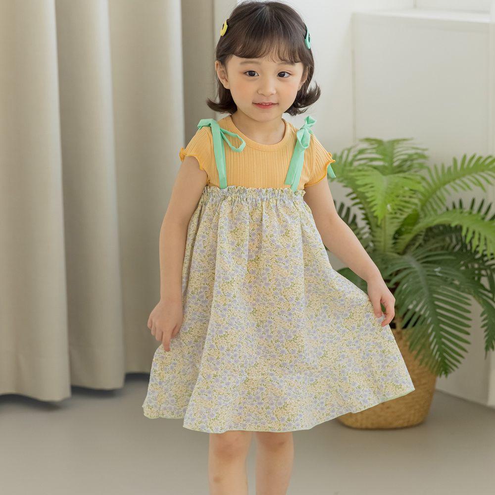 韓國 Orange Mom - 碎花細肩綁帶洋裝-黃綠