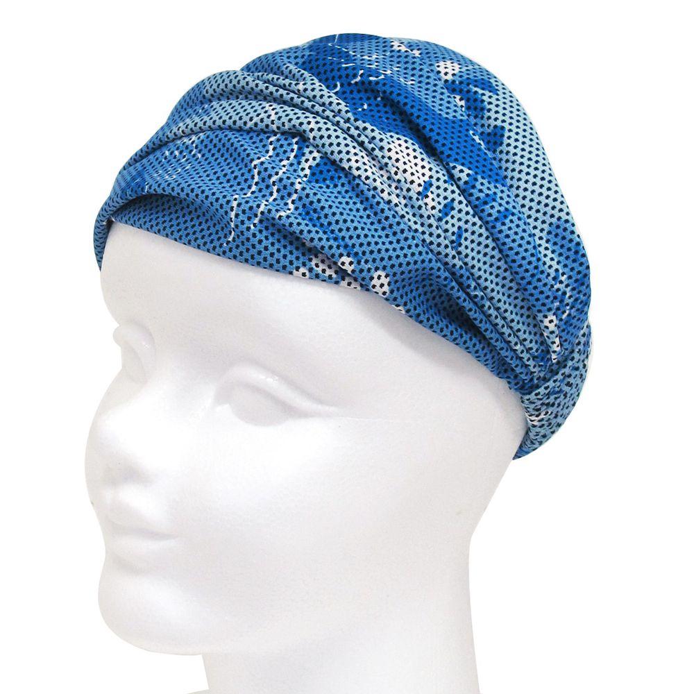 日本 DAIKAI - 3way吸水速乾UV CUT加工 涼感頭巾/髮帶/領巾-北歐碎片-水藍