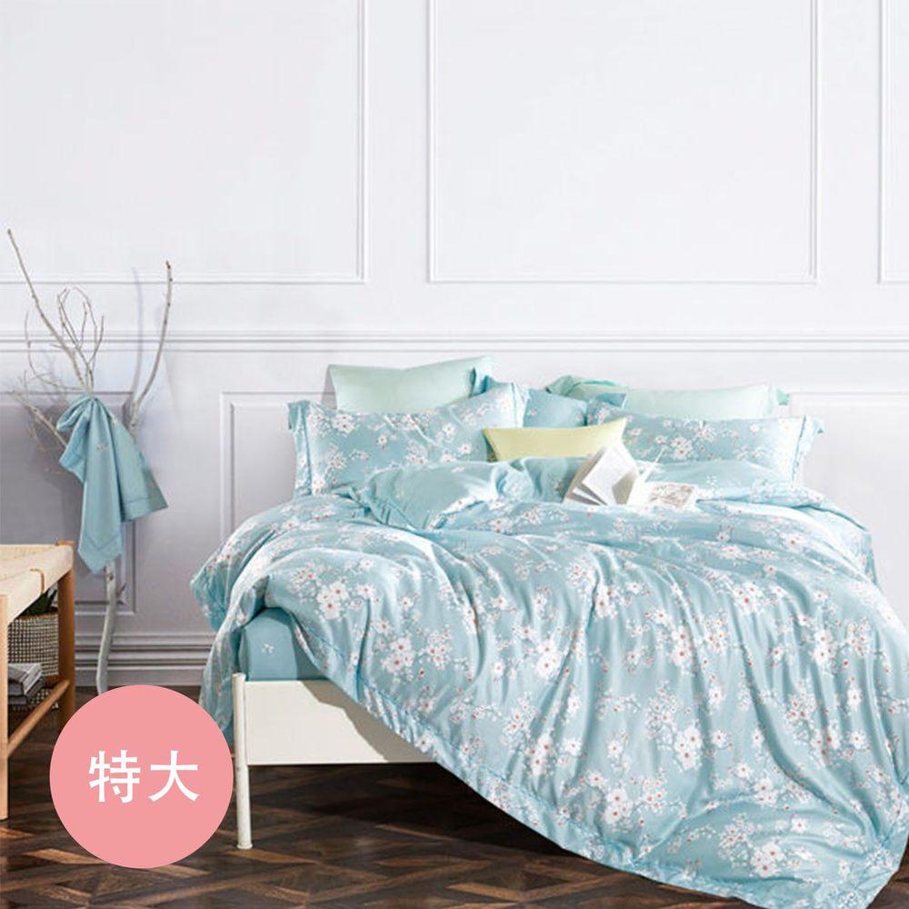 PureOne - 吸濕排汗天絲-靜蜜-特大四件式床包鋪棉被套組