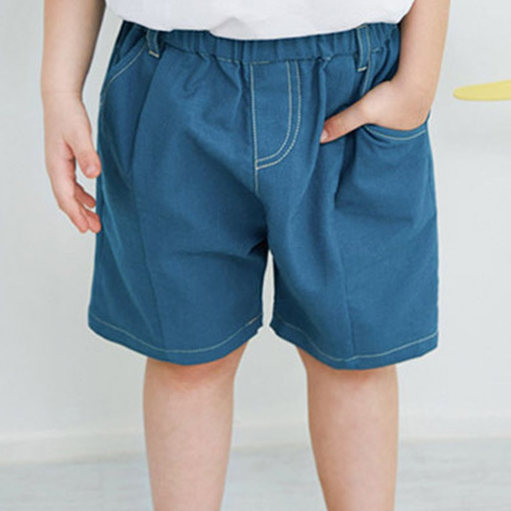 韓國 Jelispoon - 縫線鬆緊褲頭彈力寬版褲-藍綠