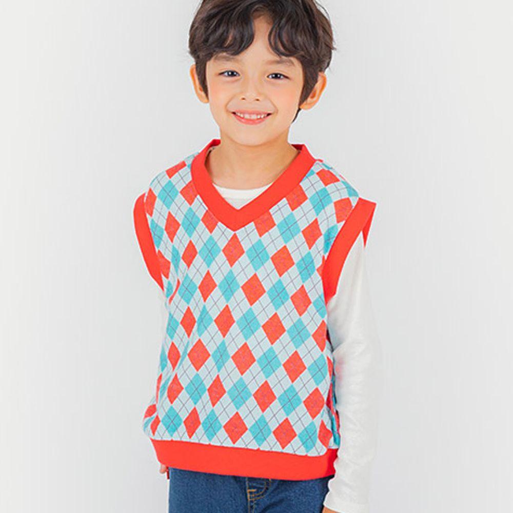 韓國 OZKIZ - 菱格紋針織背心-紅