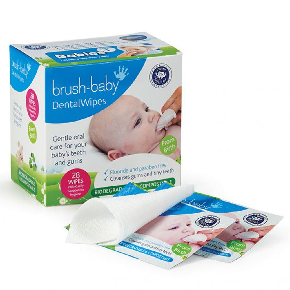 英國 brush-baby - 安心刷潔牙手指棉巾(單片包裝)-28片