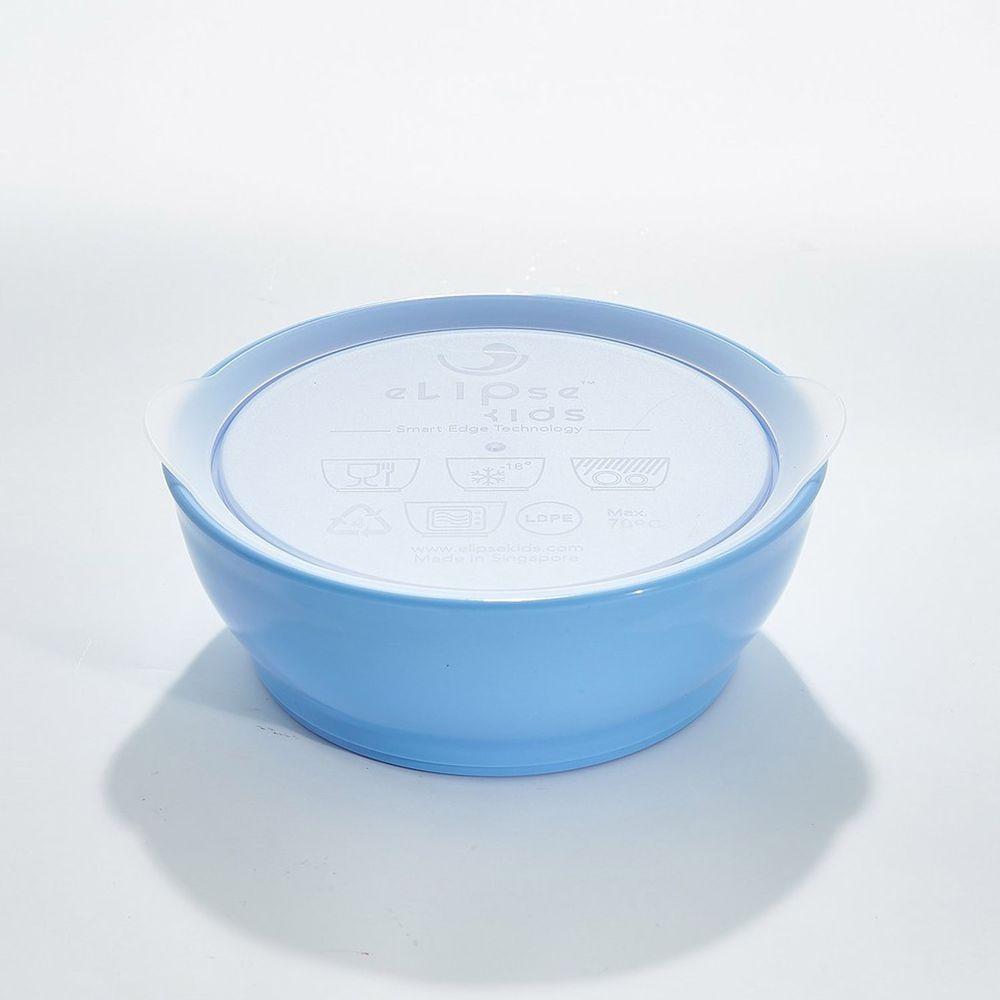 新加坡 eLipseKids - 附蓋學習餐碗-藍-355ml