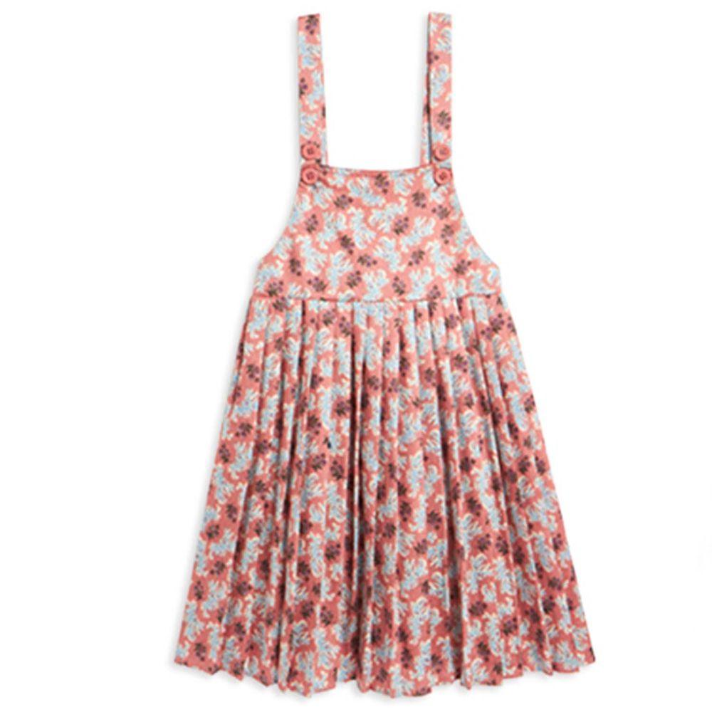 麗嬰房 Little moni - 碎花吊帶洋裝-粉紅