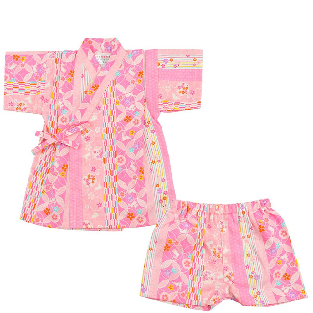 akachan honpo - 兩件式甚平-兔子直條紋-粉紅色