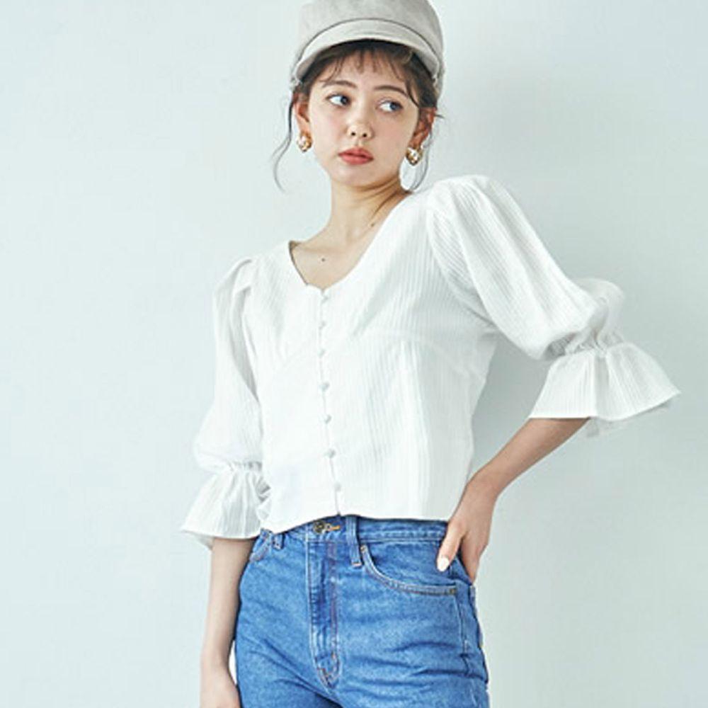 日本 GRL - V領排釦立體羅紋糖果五分袖上衣-天使白