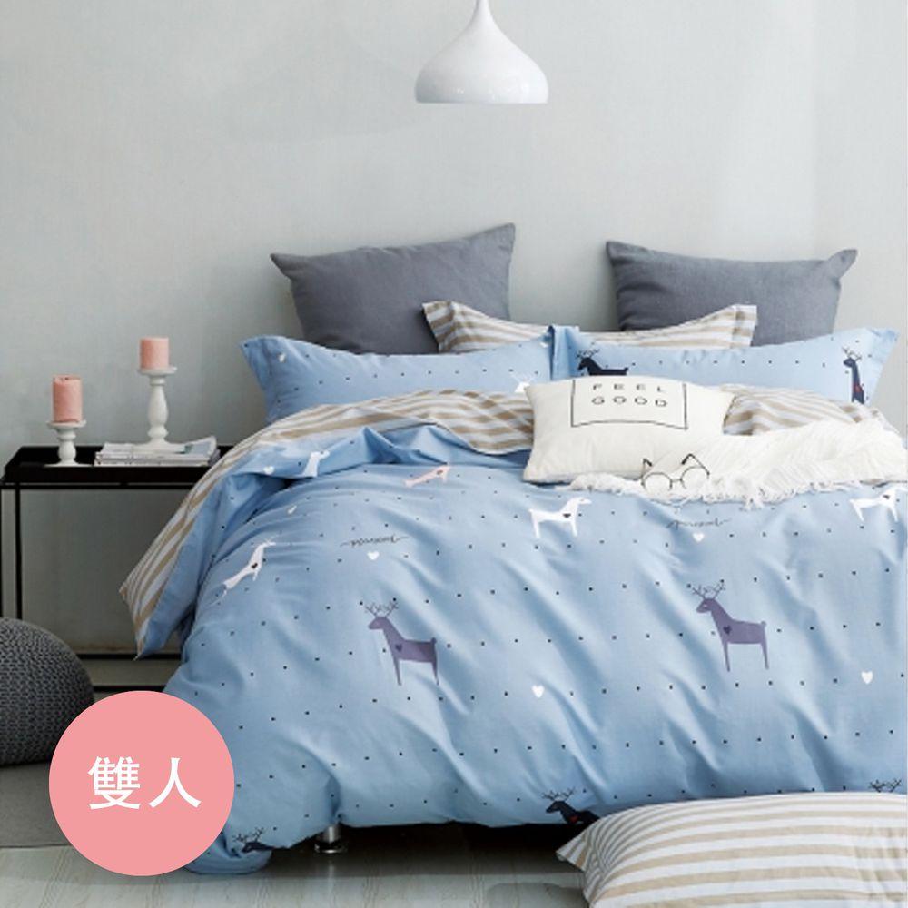 PureOne - 極致純棉寢具組-聖牧精靈-雙人鋪棉兩用被套床包四件組