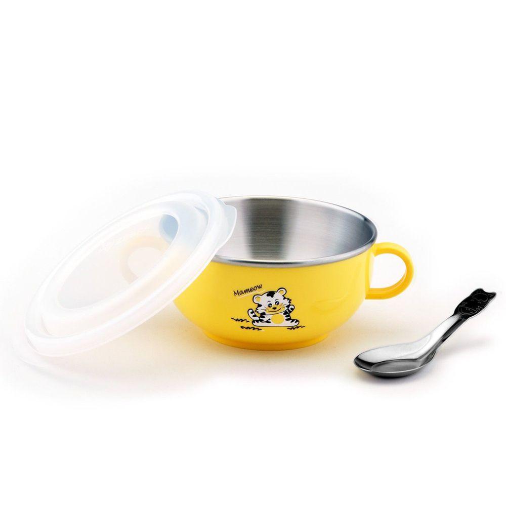 ZEBRA 斑馬 - 304不銹鋼雙耳兒童隔熱碗(附湯匙)-黃色 (11CM)-250CC