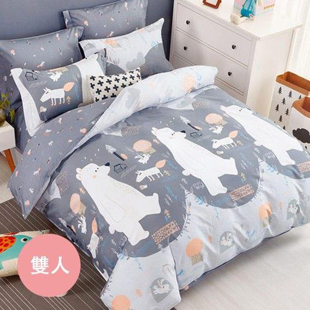 PureOne - 極致純棉寢具組-北極熊-雙人鋪棉兩用被套床包四件組