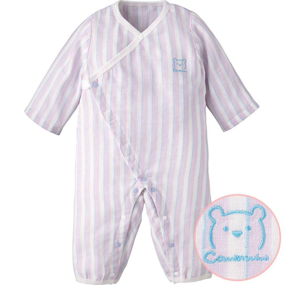 日本 Combi - mini系列-純棉紗長袖兔裝-條紋粉