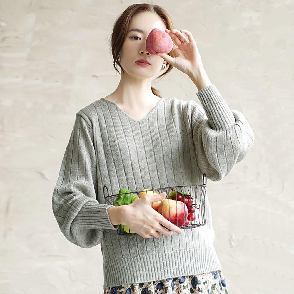日本 zootie - 顯瘦V領粗羅紋薄針織上衣-薄荷綠