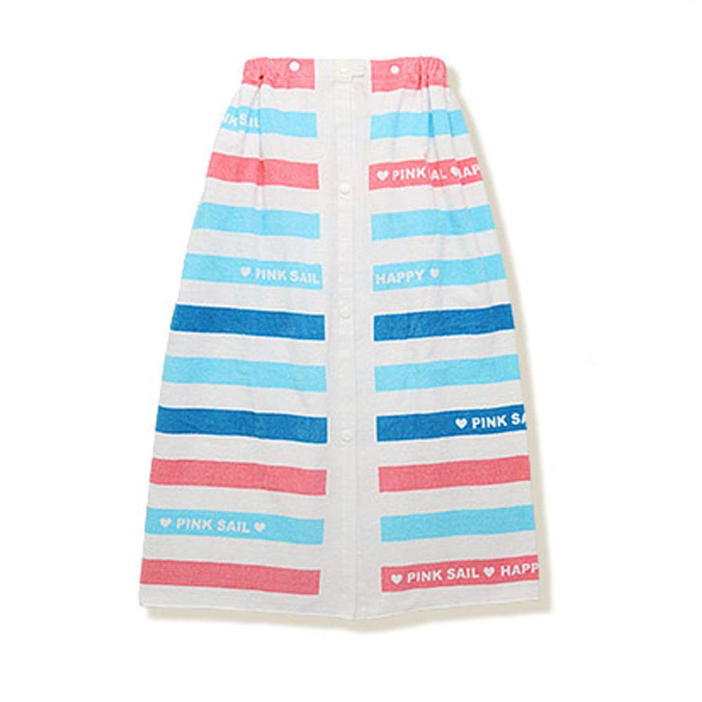 日本 ZOOLAND - 純棉海灘/游泳浴巾/浴袍 (附釦)-B彩虹條紋-藍粉 (長80cm(國小中年級以上))