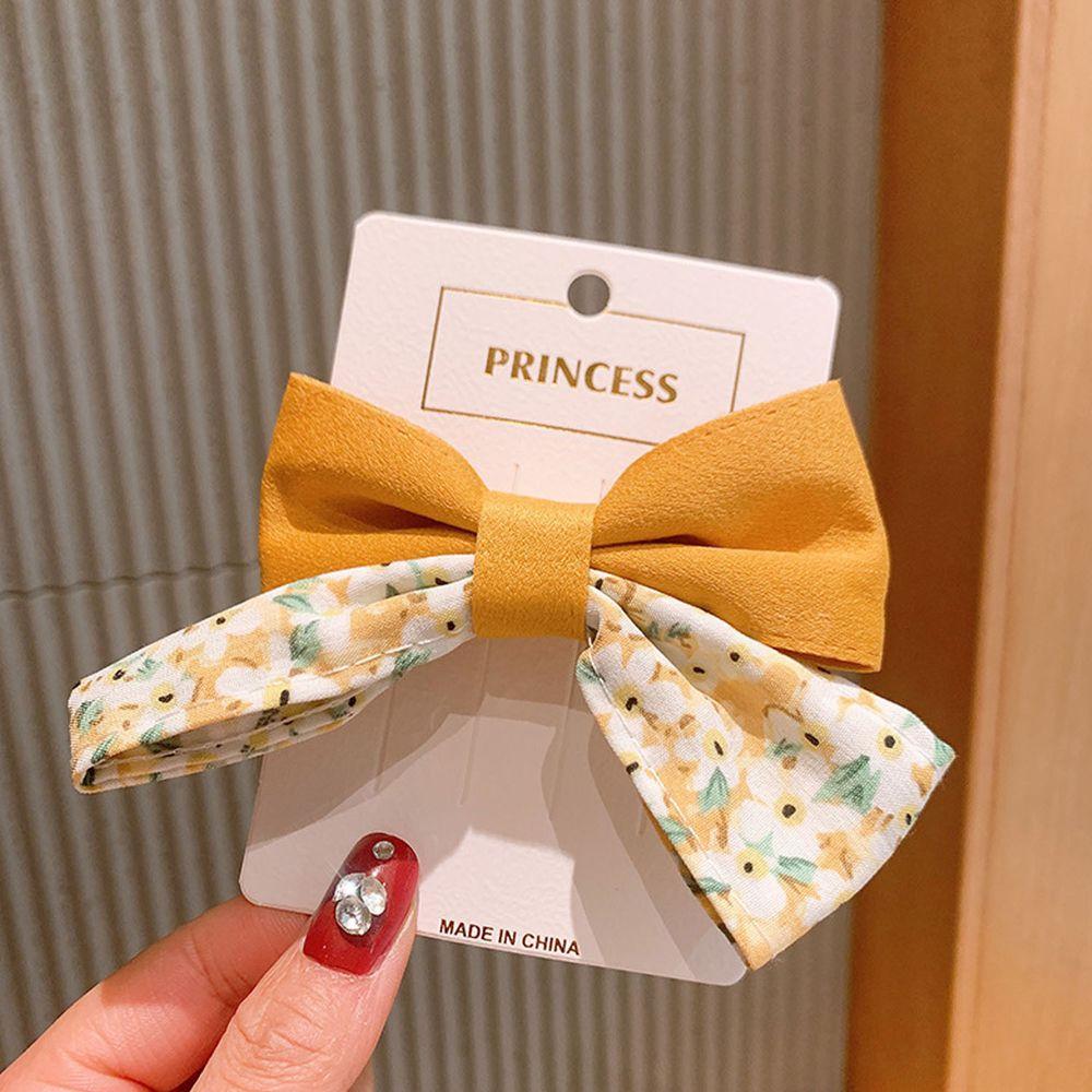 公主碎花大蝴蝶結髮夾-黃色