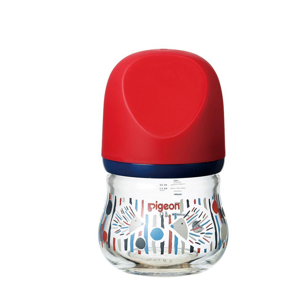 貝親 Pigeon - 寬口母乳實感玻璃奶瓶-設計款刺蝟-紅 (0個月新生兒)-奶嘴配件SS/瓶身80ml