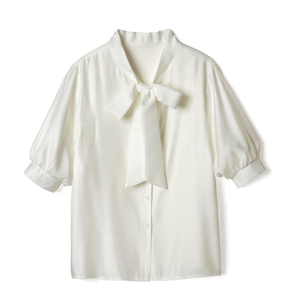 日本 GRL - 大蝴蝶領結五分袖雪紡襯衫-天使白 (F)