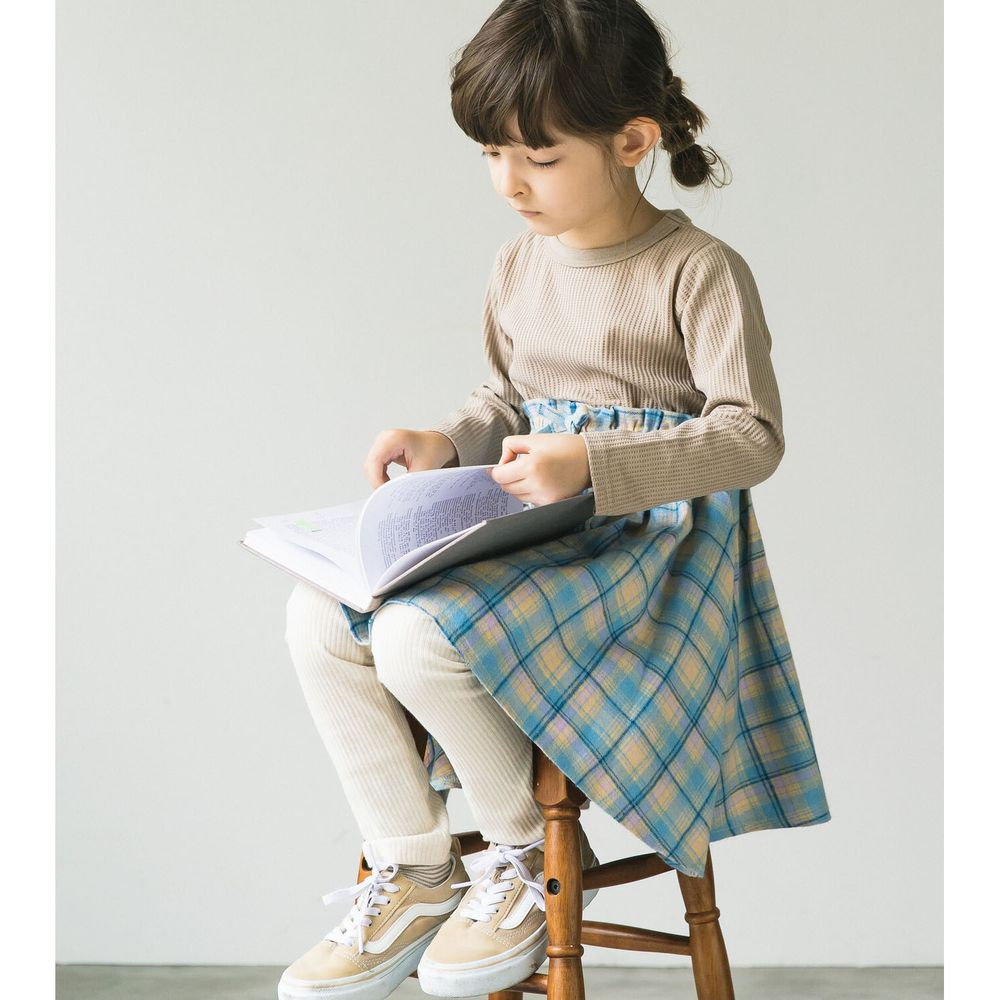 日本 PAIRMANON - 上下拼接鬆餅紋長袖洋裝-格紋-杏X水藍