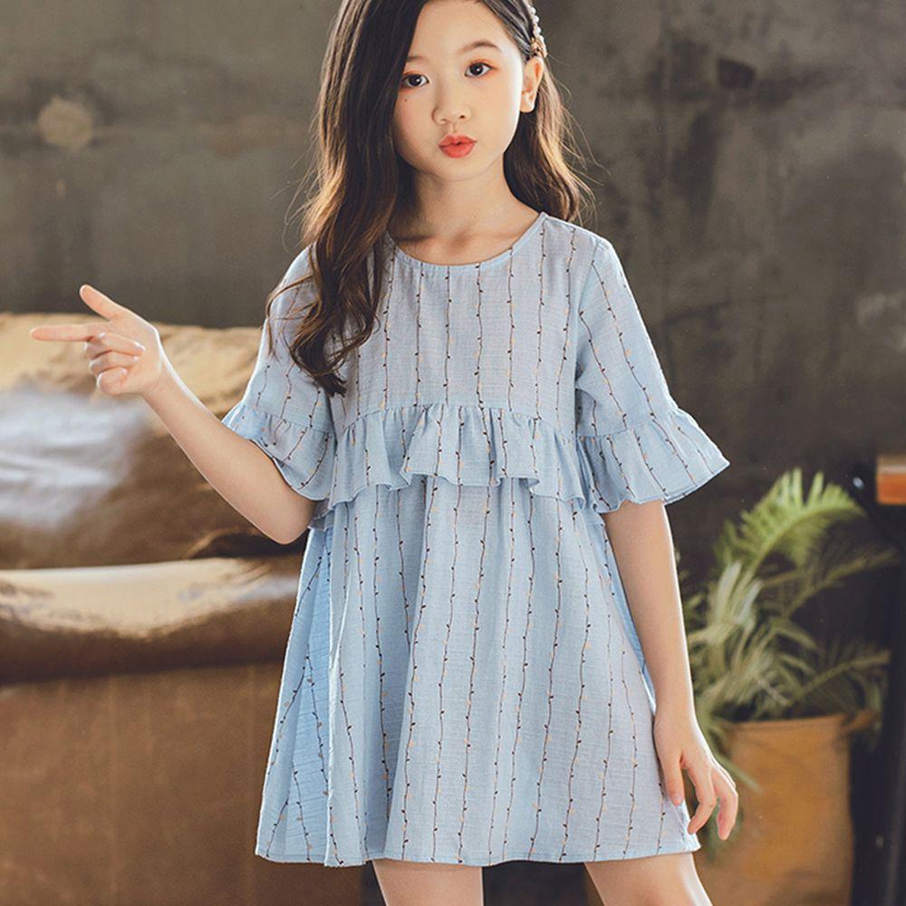 TOUNGIEE - 淺藍枝藤荷葉袖洋裝